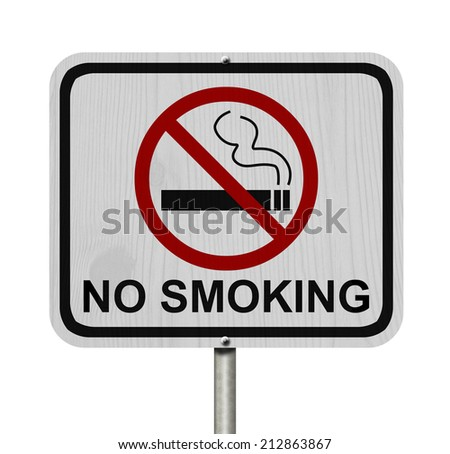 No Smoking Sign, An red road sign with cigarette icon and not symbol with text No Smoking isolated on white - stock photo