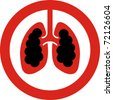 No smoking sign with lung cancer concept in JPG - stock photo