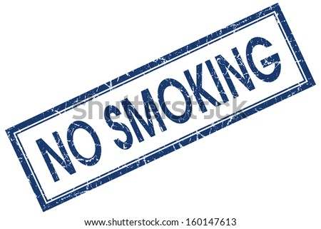no smoking square blue grunge stamp - stock photo
