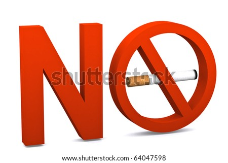 no smoking symbol on white isolated background - stock photo