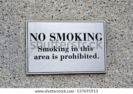 no smoking warning sign, modern security details - stock photo