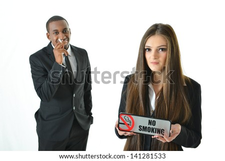 No smoking with serious expression - stock photo