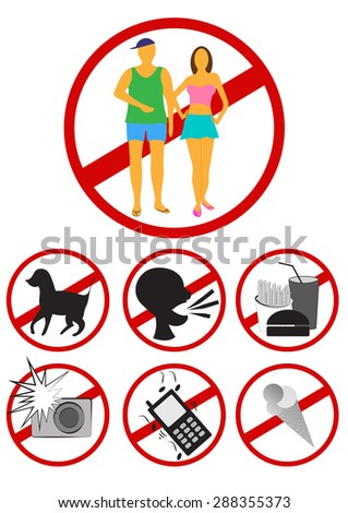 No summer clothes. No dogs. No food. No ice cream. No flash. No loud talking. No cellphone sign. Church, theater or formal institution entrance warning sign for summer attire and modest clothing.  - stock photo