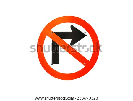 No turn right traffic sign on white backgrounds - stock photo