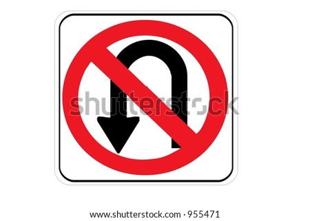 No U turn sign isolated on a white background - stock photo