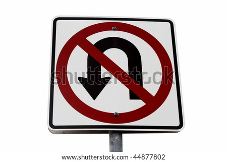 No u-turn sign over white background - stock photo