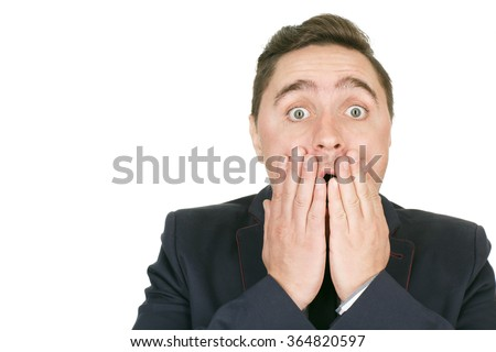 No way! Closeup portrait of a shocked man holding his face copyspace on the side - stock photo