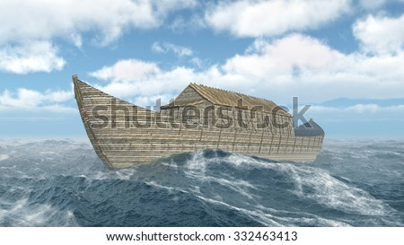 Noah's Ark in the stormy ocean Computer generated 3D illustration - stock photo