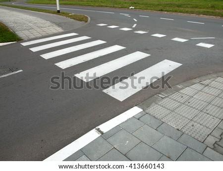 Nobody on Crosswalk - stock photo