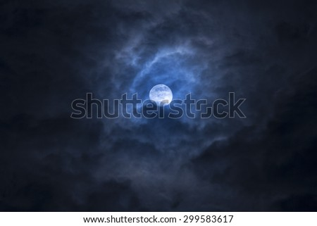noise and gain dramatic soft moon on cloudy day. fancy dream feel  - stock photo