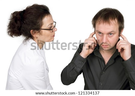 noise sensitive - stock photo