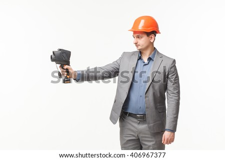 non-contact infrared thermometer in hand thermal imaging camera white backrground - stock photo
