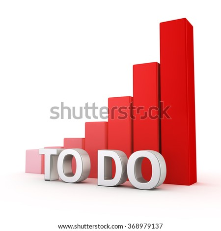 Non-effective time management concept. Excessive increase in number of problems. Planning of todo list. The word TO-DO against growing up red chart. 3D illustration about stress and procrastination - stock photo