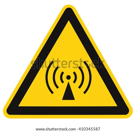 Non-ionizing radiation hazard safety area, danger warning sign sticker label, large icon signage, isolated black triangle over yellow, macro closeup - stock photo