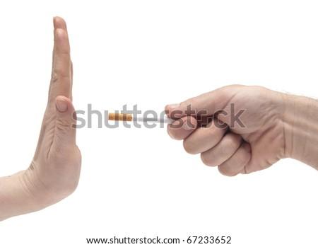 non smoking woman saying his partner to stop smoking - stock photo