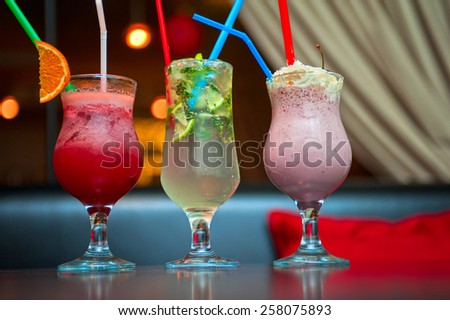 nonalcoholic cocktails berries and classic mohito - stock photo