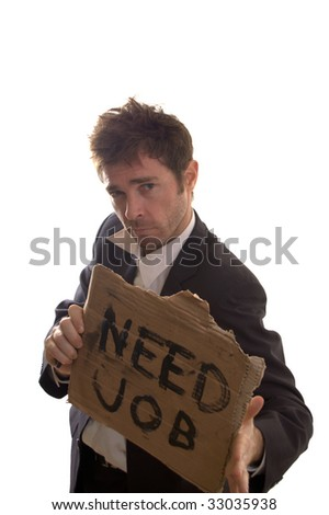 nonchalant business man unconcerned about job propects - stock photo