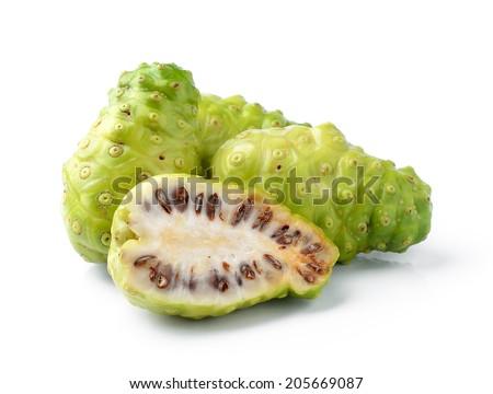 Noni Indian Mulberry fruit on white background - stock photo