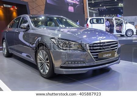 NONTABURI, THAILAND - 23 MAR :  Hyundai Genesis sedan showed in Thailand the 37th Bangkok International Motor Show on 23 March 2016 - stock photo
