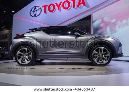 NONTABURI, THAILAND - 23 MAR : Toyota C-HR Concept,a hybrid car showed in Thailand the 37th Bangkok International Motor Show on 23 March 2016 - stock photo