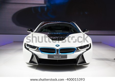 NONTHABURI - MARCH 23: BMW i8 on display at The 37th Bangkok International Motor show on MARCH 23, 2016 in Nonthaburi, Thailand. - stock photo