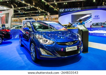 NONTHABURI - MARCH 24: Hyundai Elantra sport on display at Thailand 36th Bangkok International Motor Show 2015 on March 24, 2015 in Nonthaburi, Thailand. - stock photo