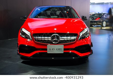 NONTHABURI - MARCH 23: NEW Mercedes Benz A 45 AMG on display at The 37th Bangkok International Motor show on MARCH 23, 2016 in Nonthaburi, Thailand. - stock photo