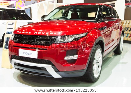 NONTHABURI - MARCH 26 : Range Rover Evoque showed in 34th Bangkok International Motor Show on March 26, 2013 in Nonthaburi, Thailand. - stock photo