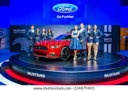 NONTHABURI - NOVEMBER 28:  SFord Mustang car with Unidentified model on display at Thailand International Motor Expo 2014 on November 28, 2014 in Nonthaburi, Thailand. - stock photo