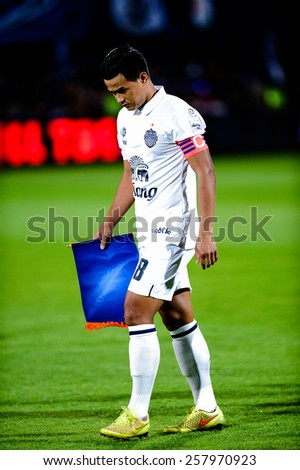 NONTHABURI THAI-FEB 21:Captain Suchao Nutnum of Buriram Utd.in action during Thai Premier League 2015 between SCG Muangthong UTD. and Buriram UTD.at SCG Stadium on February 21,2015 in,Thailand - stock photo