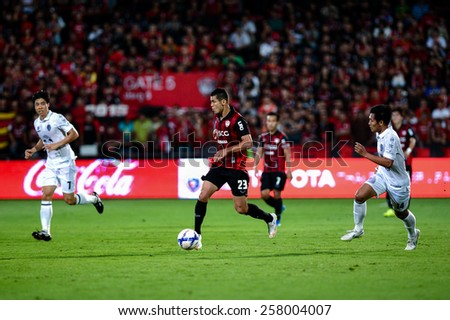 NONTHABURI THAI-FEB 21:Cleiton Silva#23 of Muangthong Utd.in action during Thai Premier League between SCG Muangthong UTD. and Buriram UTD.at SCG Stadium on February 21,2015 in,Thailand - stock photo
