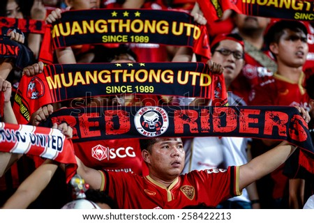 NONTHABURI THAI-FEB 21:SCG Muangthong United fans cheer  during theThai Premier League 2015 between SCG Muangthong UTD. and Buriram UTD.at SCG Stadium on February 21,2015 in,Thailand - stock photo