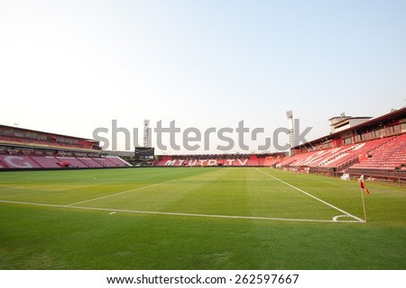 NONTHABURI THAI-FEB 21:SCG Stadium of SCG Muangthong in Thai Premier League ( TPL ) 2015 between SCG Muangthong Utd.and Buriram UTD.at SCG Stadium on February 21,2015 in,Thailand - stock photo