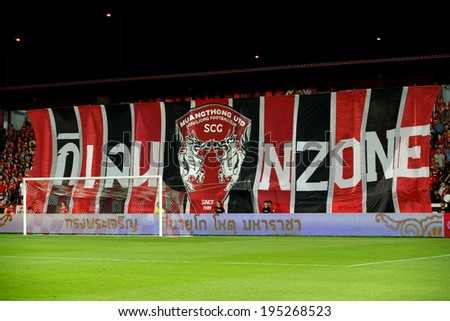 NONTHABURI THAILAND-APRIL 06:Unidentified fan of Muangthong utd.supporters  big banner during Thai Premier League Muangthong utd. and Bangkok Glass F.C. at SCG Stadium on April 06,2014 in Thailand  - stock photo