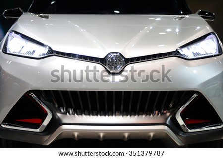 NONTHABURI, THAILAND - December 07: Details of the MG CS Concept car on display at Thailand International Motor Expo 2015 on December 07, 2015 in Nonthaburi, Thailand. - stock photo