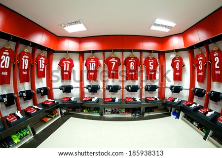 NONTHABURI THAILAND-FEBRUARY 02:Athletic dressing rooms team of Muangthong Utd. during  Thai Premier League between Muangthong Utd.and Chainat FC at SCG Stadium on Feb 02, 2014,Thailand - stock photo