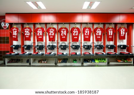 NONTHABURI THAILAND-FEBRUARY 02:Athletic dressing rooms team of Muangthong Utd during  Thai Premier League between Muangthong Utd.and Chainat FC at SCG Stadium on Feb 02, 2014,Thailand - stock photo