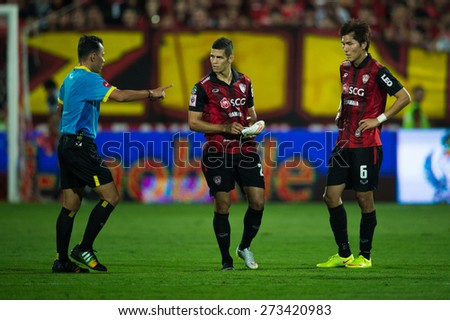 NONTHABURI THAILAND-FEBRUARY 21:	Cleiton Silva  (L2)of Muangthong utd. in action during Thai Premier League between Muangthong Utd.and Buriram United at SCG Stadium on Feb 21, 2015,Thailand - stock photo