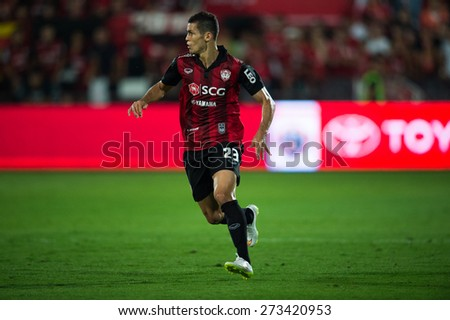 NONTHABURI THAILAND-FEBRUARY 21:	Cleiton Silva  of Muangthong utd. in action during Thai Premier League between Muangthong Utd.and Buriram United at SCG Stadium on Feb 21, 2015,Thailand - stock photo
