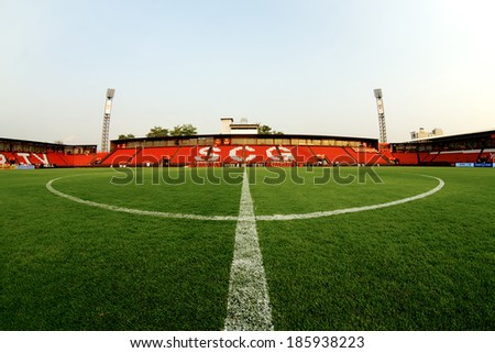 NONTHABURI THAILAND-FEBRUARY 02:View of  SCG Stadium before Thai Premier League between Muangthong Utd.and Chainat FC at SCG Stadium on Feb 02, 2014,Thailand - stock photo