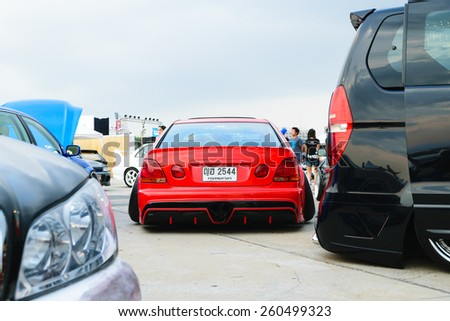 Nonthaburi, Thailand - February 28, 2015 : VIP Car Thailand car show meeting in the Bangkok Idle Street Car Club Culture 2015 at the Lakeside Muang Thong Thani, Pak Kret City - stock photo