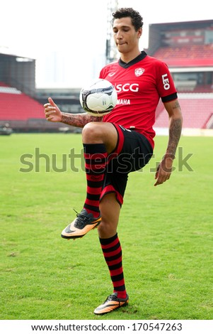 NONTHABURI-THAILAND JANUARY 8: Jay Bothroyd footballer from England during his presentation as a new player for SCG Muangthong United at SCG Stadium on January 8, 2014 in Nonthaburi,Thailand - stock photo
