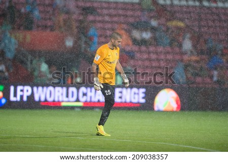 NONTHABURI THAILAND-Jul30:Goalkeeper Ruben of Almeria. during the LFP World Challenge 2014 between SCG Muangthong UTD. and Almeria at SCG Stadium on July30,2014,Thailand - stock photo