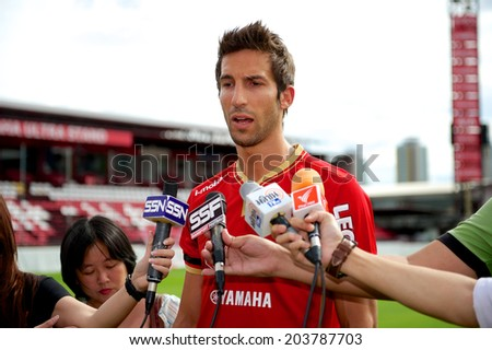 NONTHABURI-THAILAND JULY 08: Aritz Borda Etxezarreta Interview during a press conference after his presentation as a new SCG Muangthong United player at SCG Stadium on July 08,2014 Thailand - stock photo