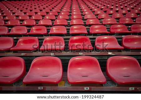 NONTHABURI THAILAND-JUN14:Chairs on the soccer of SCG Stadium during the Thai Premier League between SCG Muangthong Utd and Osotspa M-150 Saraburi F.C. at SCG Stadium on June 14,2014,Thailand - stock photo