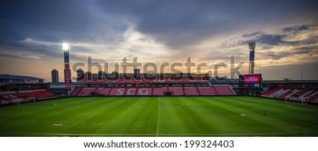 NONTHABURI THAILAND-JUN14:Panoramic View twilight of SCG Stadium during a Thai Premier League between SCG Muangthong Utd and Osotspa M-150 Saraburi F.C. at SCG Stadium on June 14,2014,Thailand - stock photo
