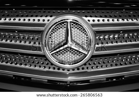 NONTHABURI, THAILAND - March 25: Details of a Mercedes-Benz car (in monochrome) on display during The 36th Bangkok International Motor Show on March 25, 2015 in Nonthaburi, Thailand. - stock photo