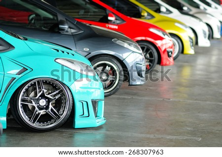 NONTHABURI, THAILAND - March 30: Small cars in line during The 36th Bangkok International Motor Show on March 30, 2015 in Nonthaburi, Thailand. - stock photo