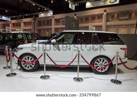 NONTHABURI, THAILAND - MARCH 30: The Land Rover Range Rover is on display at the 36th Bangkok International Motor Show 2015 on March 30, 2015 in Nonthaburi, Thailand. - stock photo