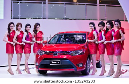NONTHABURI, THAILAND - MARCH 26: The new Toyota vios Showed in 34th Bangkok International Motor Show on March 26, 2013 in Nonthaburi, Thailand. - stock photo